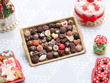 Load image into Gallery viewer, Presentation Tray of Beautiful Luxurious Miniature Chocolates on Gold Tray OOAK - Handmade Miniature Food