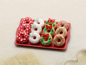Tray of Festive Decorated Miniature Christmas Donuts - Handmade Miniature Food