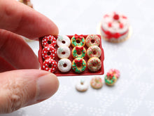 Load image into Gallery viewer, Tray of Festive Decorated Miniature Christmas Donuts - Handmade Miniature Food