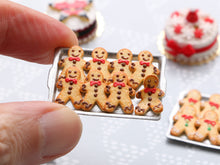 Load image into Gallery viewer, Tray of Cookie Men - One Escaping! (Chocolate Frosting) - Handmade Miniature Food