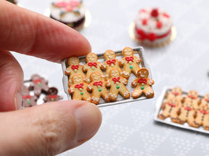 Tray of Cookie Men - One Escaping! (White Frosting) - Handmade Miniature Food