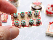 "Load image into Gallery viewer, Presentation of Eight Traditional Christmas Puddings on ""Merry Christmas"" Tray - Miniature Food"