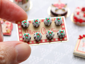 "Presentation of Eight Traditional Christmas Puddings on ""Merry Christmas"" Tray - Miniature Food"