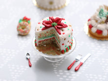 Load image into Gallery viewer, Beautiful Poinsettia Christmas Confetti Cake (Cut Open) - Handmade Miniature Food in 12th Scale