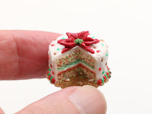 Beautiful Poinsettia Christmas Confetti Cake (Cut Open) - Handmade Miniature Food in 12th Scale