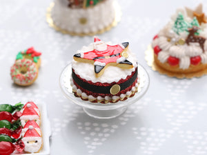 Giant Santa Cookie Christmas Cake - Handmade Miniature Food in 12th Scale