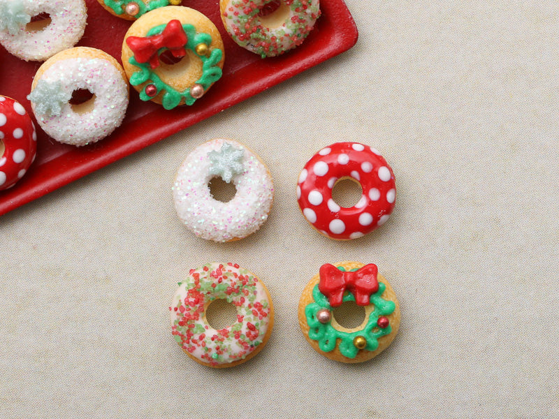 Four Loose Miniature Autumn Donuts - Miniature Food