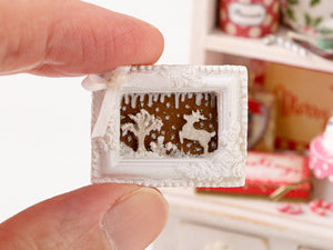 Christmas Cookie Scene - Reindeer in the Snow - Handmade Miniature Decoration