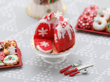Load image into Gallery viewer, Red Velvet Kouglof Hidden Snowflake Cake - Handmade Miniature Food in 12th Scale