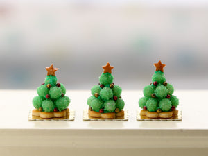 Green Truffle Mini Pièce Montée Christmas Tree French Pastry - Handmade Miniature Food in 12th Scale