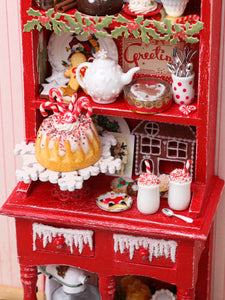 OOAK Christmas Kitchen Hutch Filled with Handmade Christmas Themed Miniatures
