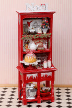 Load image into Gallery viewer, OOAK Christmas Kitchen Hutch Filled with Handmade Christmas Themed Miniatures
