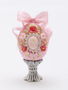 Decorative Cameo Easter Egg in Choice of Four Colours - Handmade Miniature