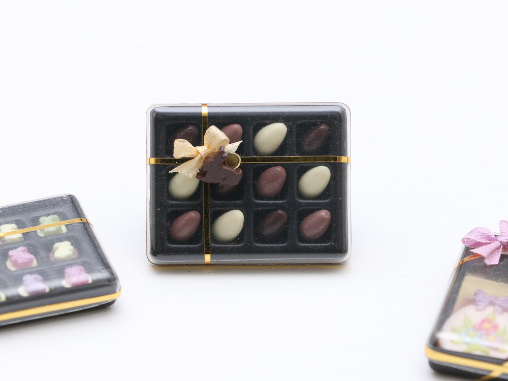 Gift Box of Easter Eggs in Dark, Milk and White Chocolate - Miniature Food