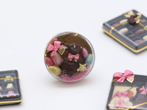 Dark Chocolate Rabbit and Easter Eggs in Round Gift Box - Miniature Food