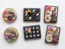 Load image into Gallery viewer, Dark Chocolate Rabbit and Easter Eggs in Round Gift Box - Miniature Food