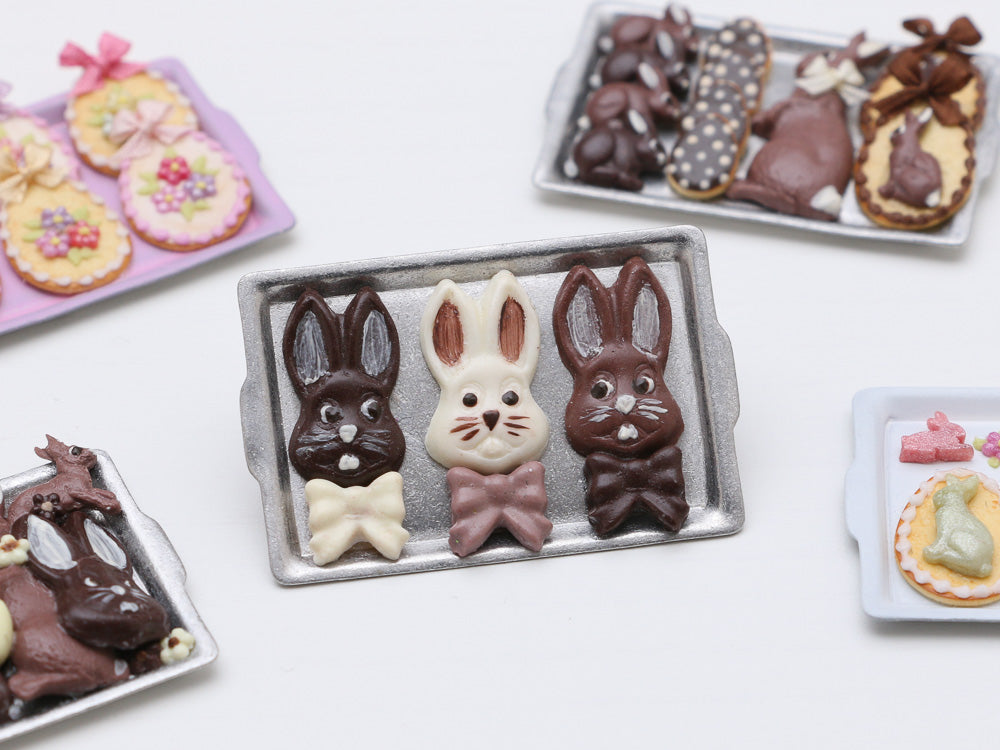 Funny Bunny Easter Chocolates on Metal Tray - Miniature Food