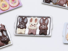 Load image into Gallery viewer, Funny Bunny Easter Chocolates on Metal Tray - Miniature Food