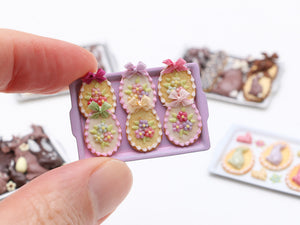 Beautiful Easter egg-Shaped Cookies Decorated with Spring Blossoms - Miniature Food