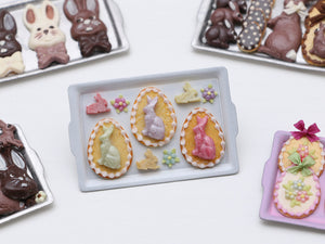 Easter Cookies and Bunny Candies on Tray - Miniature Food