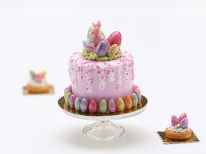 Pink Cake with White Drips for Easter - Miniature Food