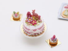 Load image into Gallery viewer, Pink Bunny, Egg and Blossom Easter Cake - Miniature Food