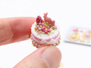 Pink Bunny, Egg and Blossom Easter Cake - Miniature Food