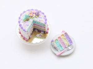 Easter Layer Cake in Pastel Colours - Miniature Food