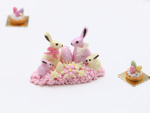 White and Pink Chocolate Rabbit Family - Miniature Food