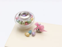 Load image into Gallery viewer, Glass Jar of Easter Egg Candy Bonbons - Miniature Food