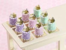 Load image into Gallery viewer, Individual Spring Pastel Cake with Blossom and Gold Butterfly Decoration - In Lilac, Pink or Green - Handmade Miniature Food