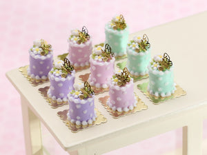 Individual Spring Pastel Cake with Blossom and Gold Butterfly Decoration - In Lilac, Pink or Green - Handmade Miniature Food