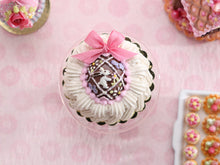 Load image into Gallery viewer, Cream Cake Decorated with Beautiful Ornate Chocolate Easter Egg - Handmade Miniature Food