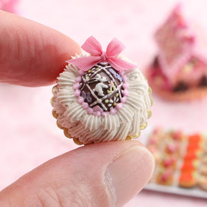 Cream Cake Decorated with Beautiful Ornate Chocolate Easter Egg - Handmade Miniature Food