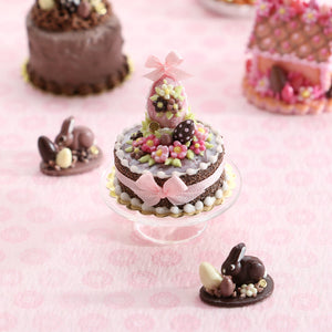 Milk Chocolate Easter Egg and Blossom Cake - OOAK - Handmade Miniatures Cake