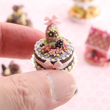 Load image into Gallery viewer, Milk Chocolate Easter Egg and Blossom Cake - OOAK - Handmade Miniatures Cake