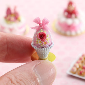 Pink Easter egg Decorated with Rose and Blossoms in Shabby Chic Pot - Handmade Miniature Food