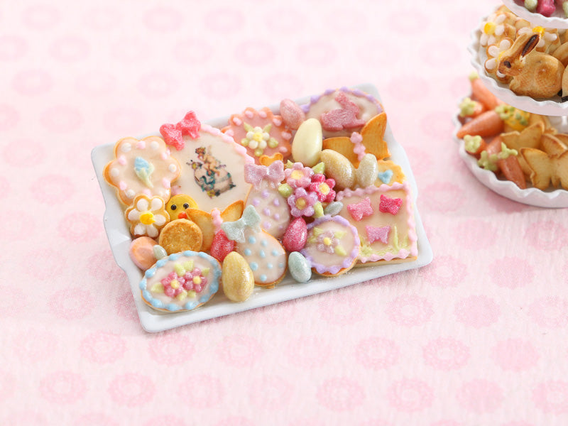 Beautiful OOAK Assortment of Easter-Themed Sweet Miniature Treats on Baking Tray - 2021D