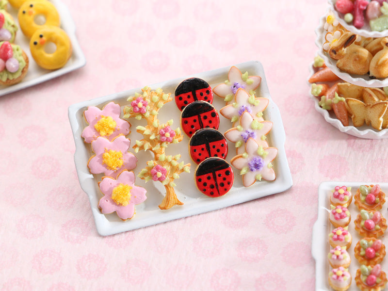 Spring-Themed Cookies on Baking Tray - Pink Sakura Spring Blossom, Tree Blossom, Ladybird, Sugared Violet Flower