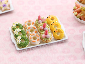 Tray of Novelty Decorated Miniature Easter Donuts - Handmade Miniature Food