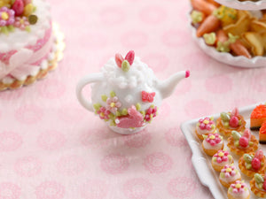 Decorative Spring / Easter Teapot with Tiny Pink Bunny, Blossoms, Butterfly Motif - Handmade Miniature for Dollshouse