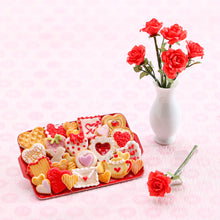 Load image into Gallery viewer, Unique OOAK Assortment of Valentine's Day Cookies on Red Metal Tray - Handmade Miniature Food