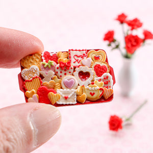 Unique OOAK Assortment of Valentine's Day Cookies on Red Metal Tray - Handmade Miniature Food