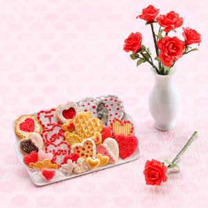 Unique OOAK Assortment of Valentine's Day Cookies on White Metal Tray - Handmade Miniature Food