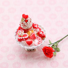 Load image into Gallery viewer, Valentine's Day Sundae and Eclair Dessert and Treats Selection on Shabby Chic Stand - Handmade Miniature Food