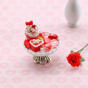Valentine's Day Sundae and Eclair Dessert and Treats Selection on Shabby Chic Stand - Handmade Miniature Food