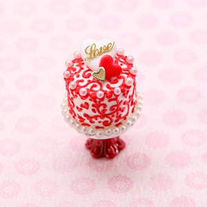 "Valentine's Day Cake - Arabesque Swirls and Golden ""Love"" Decoration - Handmade Miniature Food"