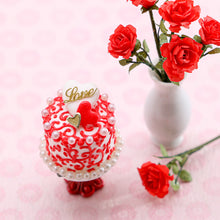 "Load image into Gallery viewer, Valentine's Day Cake - Arabesque Swirls and Golden ""Love"" Decoration - Handmade Miniature Food"