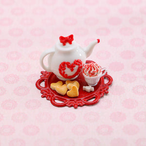 Valentine's Cookie and Cappuccino Set - Handmade Miniature Food for Dollhouse