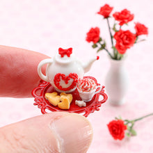 Load image into Gallery viewer, Valentine's Cookie and Cappuccino Set - Handmade Miniature Food for Dollhouse